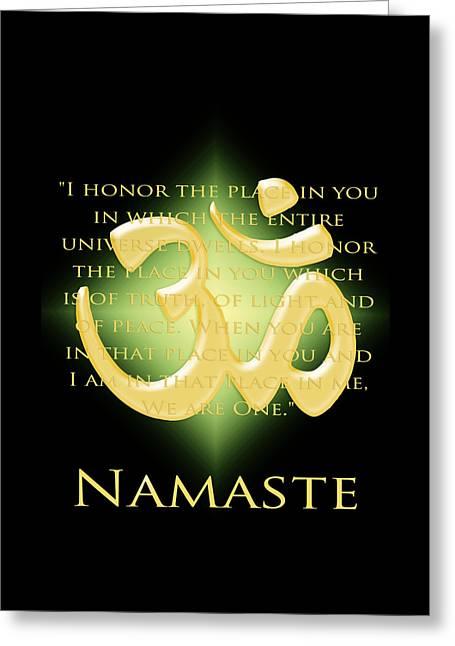 Namaste On Black Greeting Card by Heidi Hermes