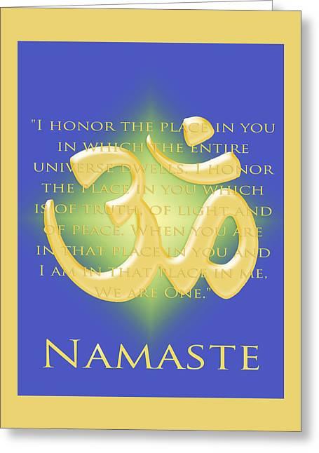 Namaste On Blue Greeting Card by Heidi Hermes