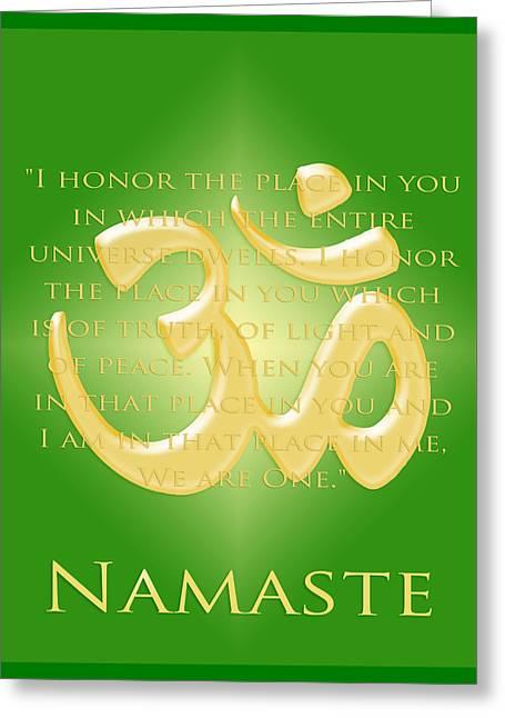 Namaste On Green Greeting Card by Heidi Hermes