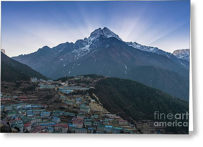 Greeting Card featuring the photograph Namche And Thamserku Peak Morning Sunrays by Mike Reid
