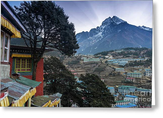 Greeting Card featuring the photograph Namche Monastery Morning Sunrays by Mike Reid