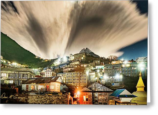 Greeting Card featuring the photograph Namche Night by Dan McGeorge