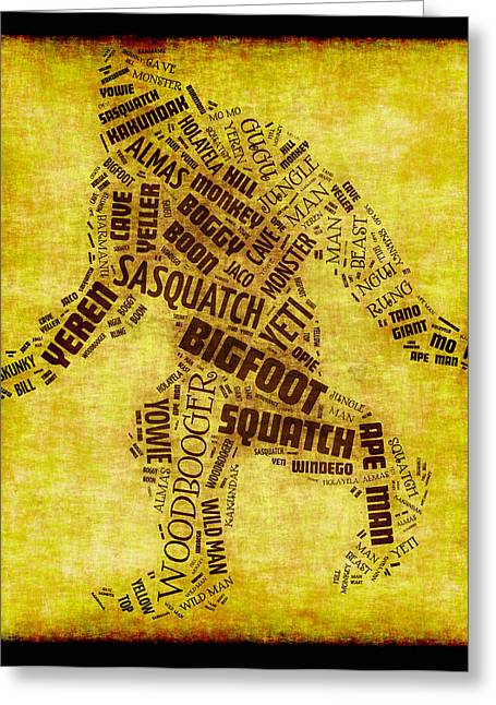 Names For Bigfoot Word Cloud Greeting Card by David G Paul