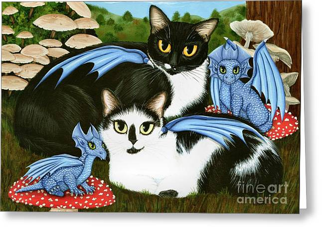 Nami And Rookia's Dragons - Tuxedo Cats Greeting Card