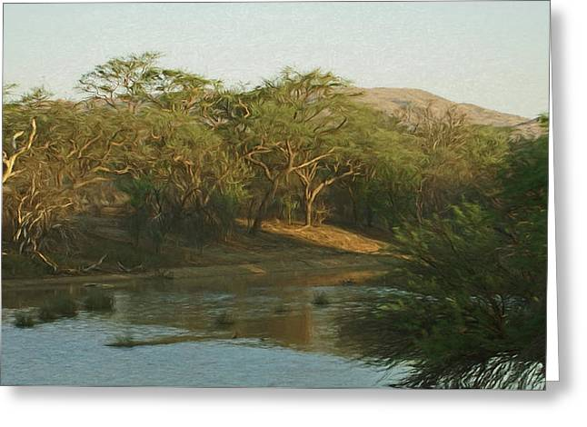 Namibian Waterway Greeting Card by Ernie Echols