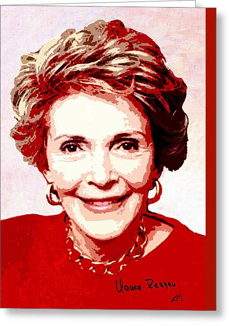 Nancy Reagan Portrait Greeting Card by Linda Mears