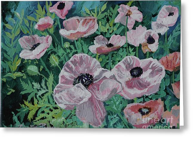 Greeting Card featuring the painting Nancy's Poppies by Robin Maria Pedrero