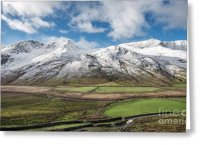 Nant Ffrancon Winter Greeting Card by Adrian Evans