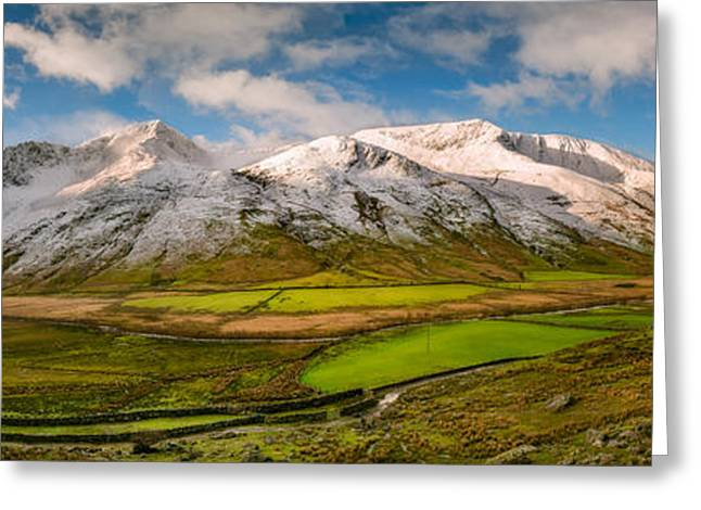 Nant Ffrancon Winter Panorama Greeting Card