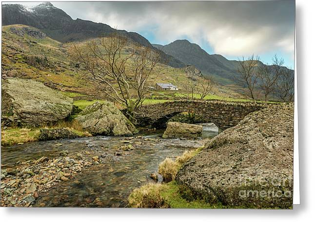 Greeting Card featuring the photograph Nant Peris Bridge by Adrian Evans