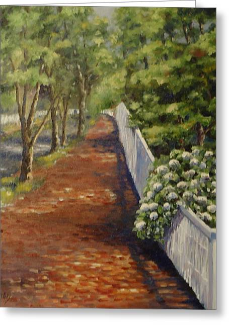 Nantucket Fence Number Three Greeting Card by Andrea Birdsey Kelly
