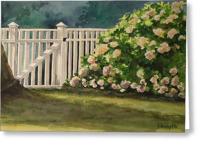 Nantucket Fence Number Two Greeting Card by Andrea Birdsey Kelly
