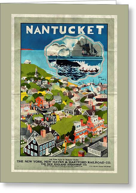 Nantucket - Vintage Poster Folded Greeting Card by Vintage Advertising Posters