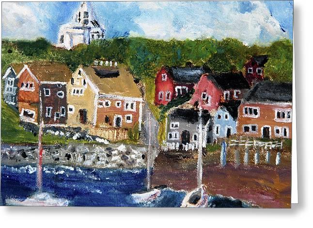 Nantucket Harbor Scene Greeting Card by Michael Helfen