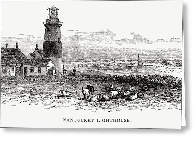 Nantucket Lighthouse, Massachusetts Greeting Card by Vintage Design Pics