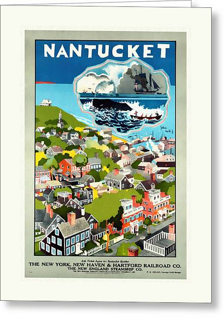 Nantucket - Vintage Poster Restored Greeting Card by Vintage Advertising Posters