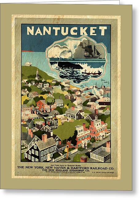 Nantucket - Vintage Poster Vintagelized Greeting Card by Vintage Advertising Posters