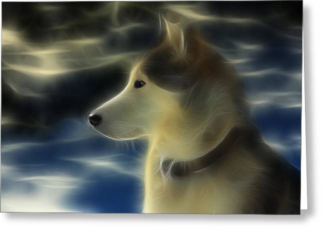 Huskies Greeting Cards - Nanuk Husky Fractal Greeting Card by Marjorie Imbeau
