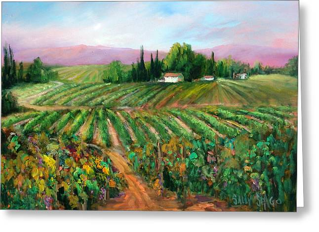 Napa Harvest Greeting Card by Sally Seago