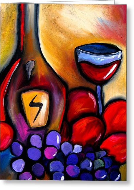 Picasso Mixed Media Greeting Cards - Napa Mix - Abstract Wine Art by Fidostudio Greeting Card by Tom Fedro - Fidostudio