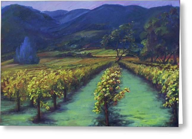Napa Valley Vineyards Down Silverado By Deirdre Shibano Greeting Card by Deirdre Shibano