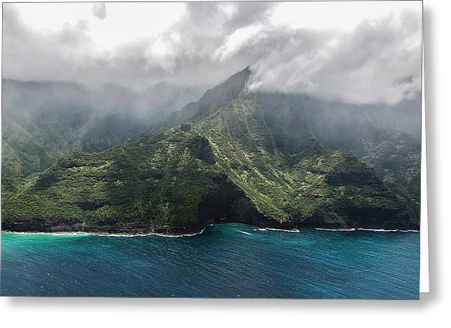Napali Coast In Clouds And Fog Greeting Card