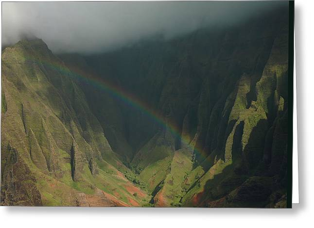 Napali Valley Rainbow - Kauai Greeting Card by Stephen  Vecchiotti