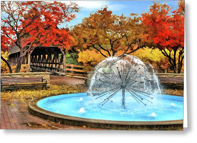 Greeting Card featuring the painting Naperville Dandelion Fountain by Christopher Arndt