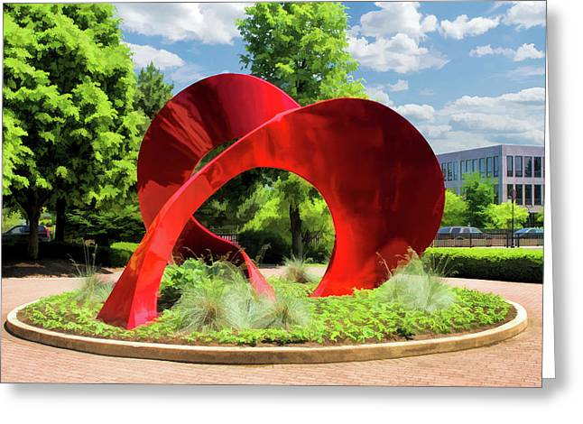 Greeting Card featuring the painting Naperville Landforms Sculpture by Christopher Arndt