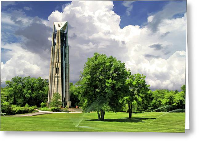 Greeting Card featuring the painting Naperville Millennium Carillon by Christopher Arndt