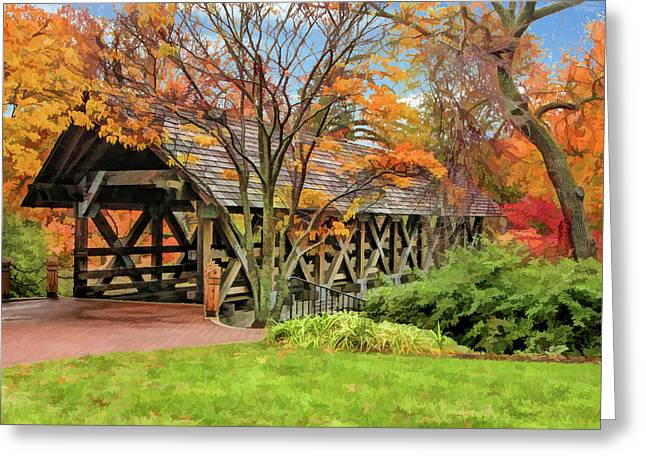 Greeting Card featuring the painting Naperville Riverwalk Covered Bridge by Christopher Arndt