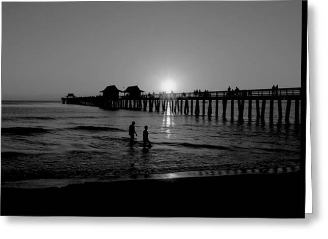 Naples Florida Pier Sunset Greeting Card