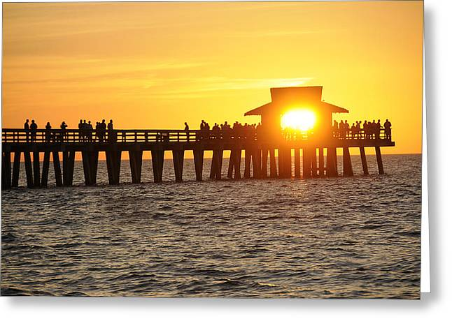 Naples Florida Sunset Pier Greeting Card by Keith Lovejoy