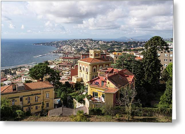Naples Italy Aerial Perspective - Chiaia And Mergellina Seafront Neighborhoods Greeting Card