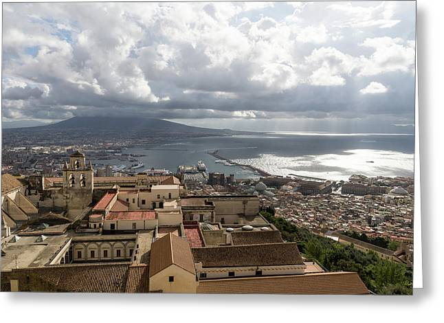 Naples Italy Aerial Perspective - God Rays Clouds And Vistas Greeting Card by Georgia Mizuleva