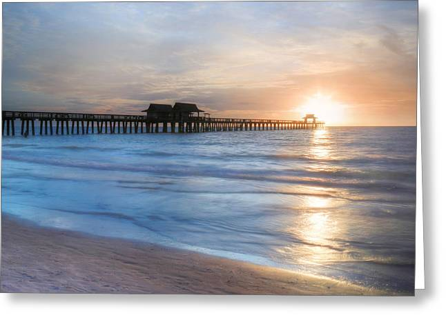 Naples Pier At Sunset Greeting Card by Lori Deiter