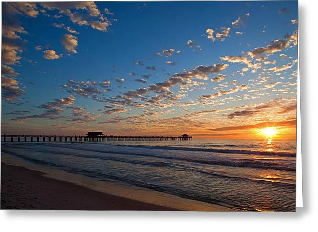 Naples Pier Days End. Greeting Card