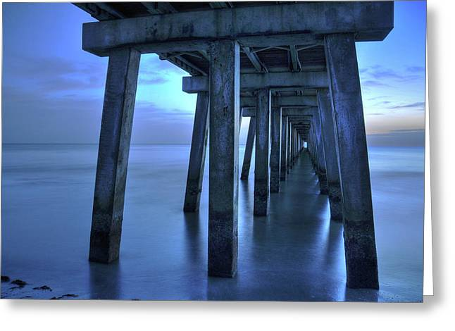 Ocean Landscape Greeting Cards - Naples Pier  Greeting Card by Kelly Wade