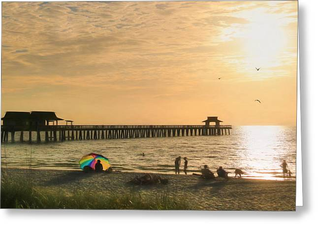 Naples Pier Greeting Card by Lori Deiter