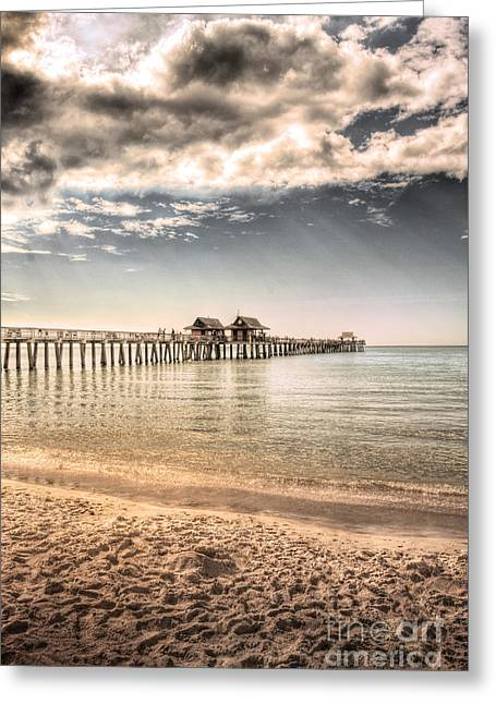 Ocean Shore Greeting Cards - Naples Pier Greeting Card by Margie Hurwich