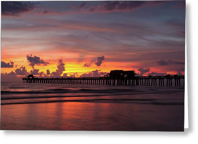Naples Pier Silhouette  Greeting Card
