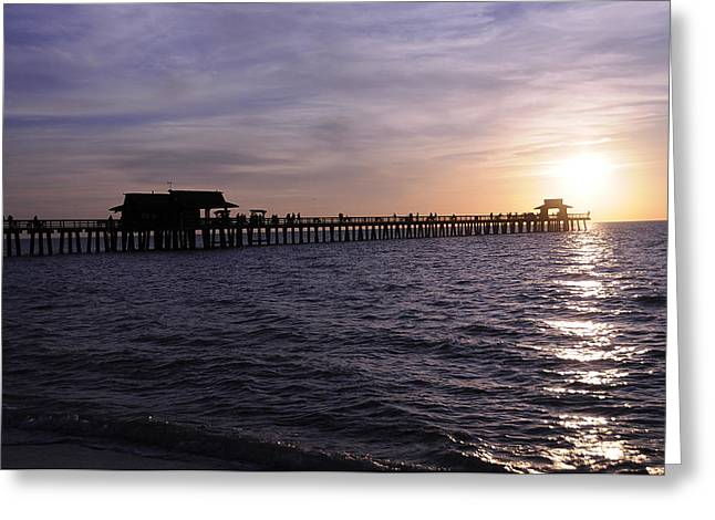 Naples Pier Sundown Greeting Card by Keith Lovejoy