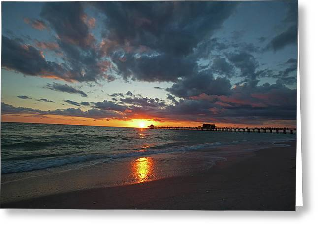 Naples Pier Sunset  Greeting Card