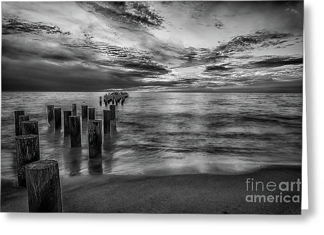 Naples Sunset In Black And White Greeting Card