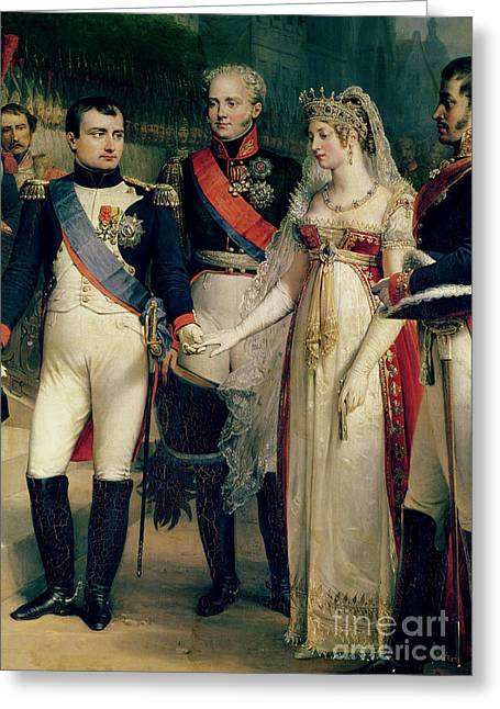 Tilsit Greeting Cards - Napoleon Bonaparte Receiving Queen Louisa of Prussia Greeting Card by Nicolas Louis Francois Gosse