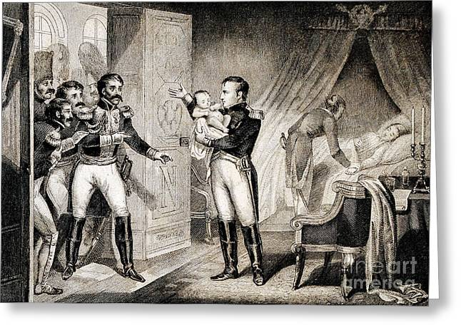 Napoleon I Presenting Newborn Son, 1811 Greeting Card by Wellcome Images