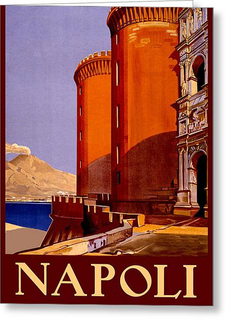 Naples Drawings Greeting Cards - Napoli Italy - Vintage Naples Travel Greeting Card by Just Eclectic