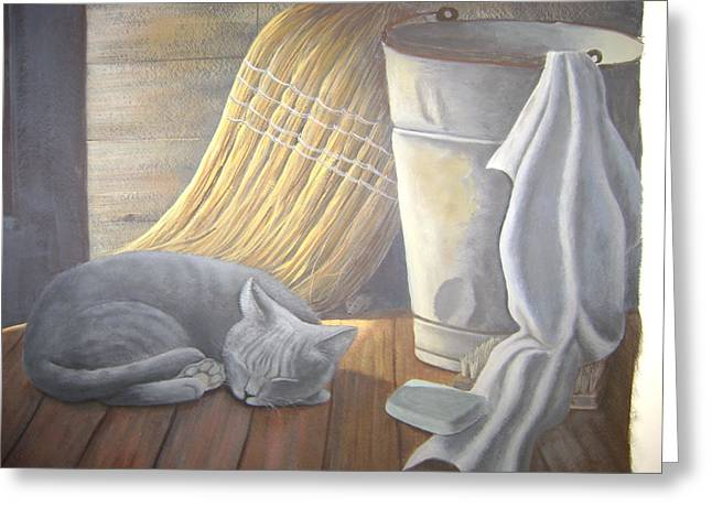 Naptime Greeting Card by Judy Keefer