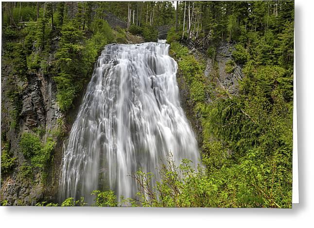 Narada Falls In Mount Rainier National Park Greeting Card