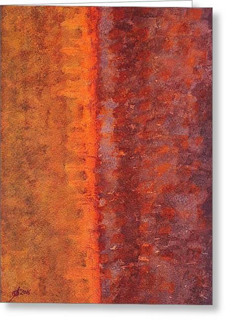 Narrow Divide Original Painting Greeting Card by Sol Luckman